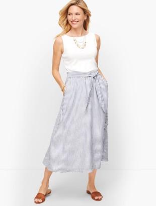 Talbots Candy Stripe Linen Midi Skirt