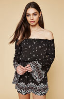 KENDALL + KYLIE Kendall & Kylie Floral Off-The-Shoulder Bell Sleeve Romper