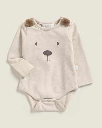 Baby Essentials Albetta (Newborn Boys) Bear Face Applique Striped Bodysuit