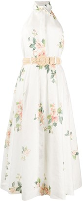 Zimmermann Floral Print Halterneck Linen Dress