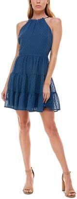 Trixxi Juniors' Tiered Clip-Dot Fit & Flare Dress
