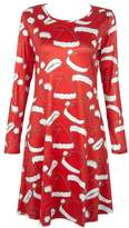 Soficy Ladies A-Line Long Sleeve Christmas Pleated Little Cocktail Party Dress Red XL