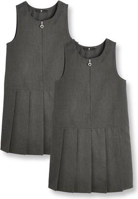 Very Girls 2 Pack Pleat PinaforeSchool Dresses- Grey