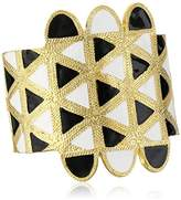 Kenneth Jay Lane Satin Gold with Black and White Enamel Cuff Bracelet