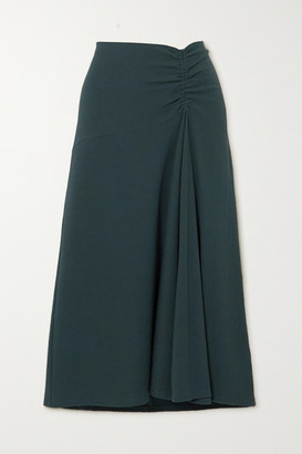 Vince Asymmetric Ruched Stretch-crepe Midi Skirt - Dark green