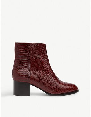 LK Bennett Dayna croc-embossed leather boots