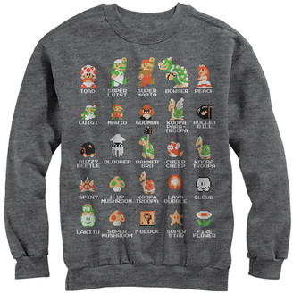 Fifth Sun Men's Pullover Sweaters CHAR - Super Mario Heather Charcoal Pixel Cast Crewneck Sweater - Men