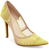 Jessica Simpson Electric Yellow Camba Lace Pointed Toe Pumps