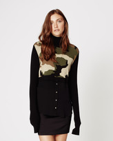 Nicole Miller Camo Turtleneck Sweater