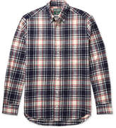 Gitman Brothers Button-down Collar Checked Cotton-flannel Shirt - Navy