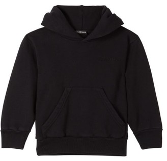 Balenciaga Kids Unisex Logo-embroidered Cotton-blend Hoodie - Black