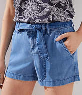 LOFT Chambray Tie Waist Shorts