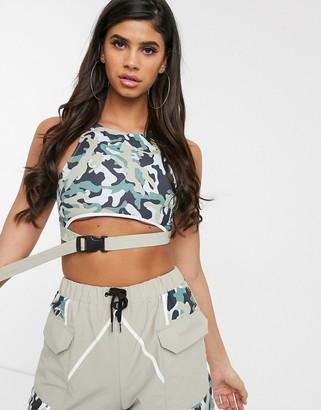 Asos Design DESIGN camo track bra top in shell fabric two-piece-Multi