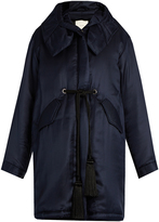 ADAM by Adam Lippes Tassel-drawstring hooded silk-twill coat