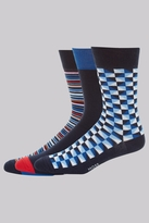 Moss Bros Blue 3 Pack Cotton Blend Geo Socks