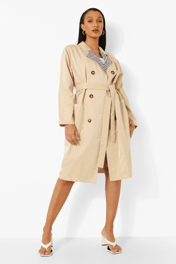 Thumbnail for your product : boohoo Check Collar Belted Trench Coat