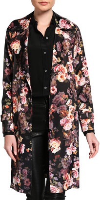 L'Agence Atticus Floral-Print Trench Coat