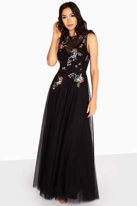 Little Mistress Hallie Sequin Embroidery Mesh Maxi Dress