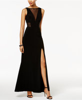 Betsy & Adam Petite Illusion A-Line Gown