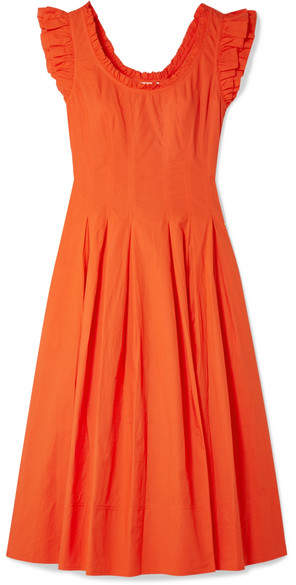 Ulla Johnson Camille Ruffled Lace-up Cotton-poplin Midi Dress - Papaya