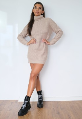 Missguided Stone Roll Neck Jumper Dress