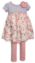 Bonnie Baby Girls' 2-Piece Floral/Stripe Dress and Legging Set in Grey/Coral