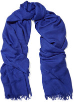 Etro Fringed Cashmere And Silk-blend Scarf - Blue