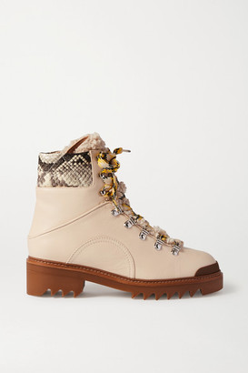 Aquazzura Sierra 40 Shearling-trimmed Snake-effect And Smooth Leather Boots - Off-white