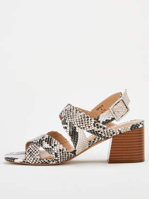 Very Genova Wide Fit Strappy Block Heel Sandals - Snake