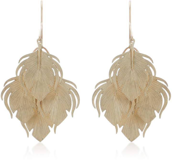 Annette Ferdinandsen Peacock Feather Clusters 14K Gold Drop Earrings
