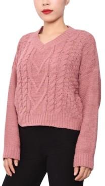 Derek Heart Juniors' Cable-Knit V-Neck Sweater