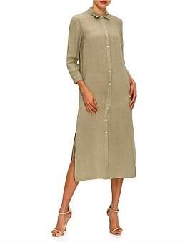 120% Lino 120 Lino 3/4 Sleeve Button Down Shirt Dress