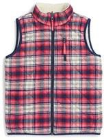 Vineyard Vines Toddler Girl's Reversible Plaid Faux Shearling Vest