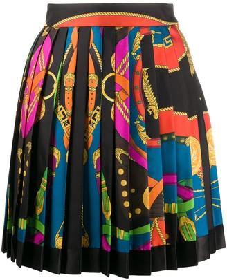 Versace Bondage-Print Pleated Skirt
