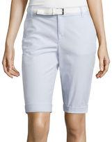 Liz Claiborne Belted Roll-Cuff Poplin Walking Shorts