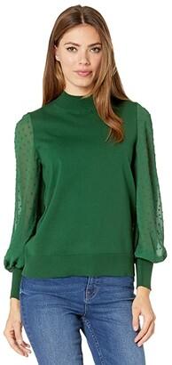 CeCe Long Sleeve Mock Neck Clip Sleeve Sweater (Rich Black) Women's Clothing