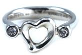 Tiffany & Co. and Co Sterling Silver Elsa Peretti Open Heart Diamond Ring
