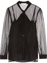 MICHAEL Michael Kors Pussy-bow Crepe-trimmed Tulle Blouse - Black