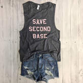 Etsy Breast Cancer Awareness SAVE SECOND BASE Muscle Tee in Asphalt/Millinneal Pink Workout Top, Muscle T