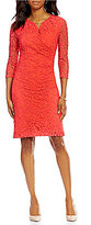 Preston & York Brenda V-Neck 3/4 Sleeve Sheath Lace Dress