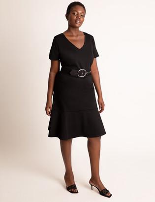 ELOQUII Short Sleeve Dress With Belt