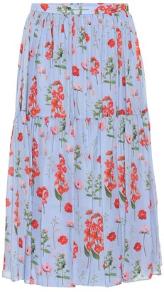 Carolina Herrera Floral pleated silk midi skirt