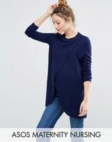 Asos NURSING Wrap Over Sweater In Textured Stripe