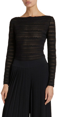 Alaia Boat-Neck Long-Sleeve Tonal Stripep Lace Bodysuit