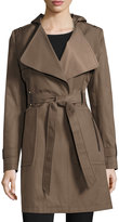 Via Spiga Drape-Front Belted Trench Coat w/ Hood, Olive