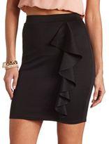 Charlotte Russe Ruffled Scuba Mini Skirt