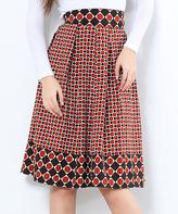 Brown Geometric A-Line Skirt