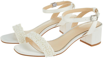 Monsoon Lisa Low Heel Bridal Sandals Ivory
