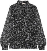 MICHAEL Michael Kors Pussy-bow Printed Georgette Blouse - Black