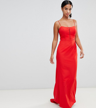 Jarlo Petite cami strap fishtail maxi dress with lace insert in red